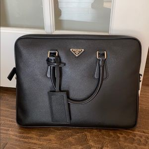 Like New Black Saffiano Leather Prada Briefcase